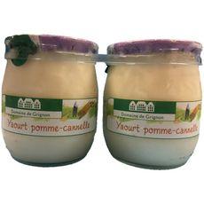 DOMAINE DE GRIGNON Yaourt à la pomme et cannelle pot en verre  2x125g