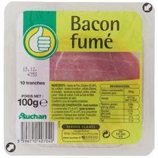 POUCE Bacon fumé en tranches 10 tranches 100g