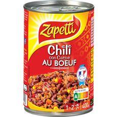 ZAPETTI Chili con carne au bœuf 1/2 personnes 400g
