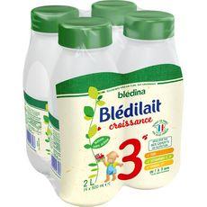 BLEDINA Blédilait 3 lait de croissance liquide dès 12 mois 4x500ml