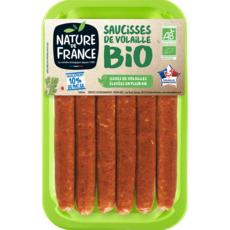 NATURE DE FRANCE Saucisses de volaille bio 10% MG 6 saucisses 300g