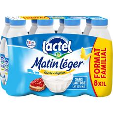 LACTEL Matin Léger Lait UHT 1,2% MG  8 bouteilles de 1l