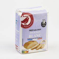 AUCHAN Farine préparation pour pain blanc 2 pains 1kg