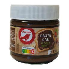 AUCHAN Pâte à tartiner cacao et noisettes sans huile de palme 200g