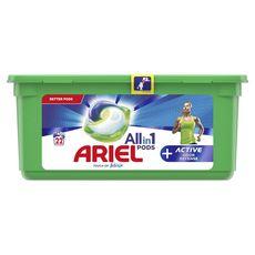 ARIEL Pods Lessive en capsules active+  touche de febreze  22 lavages
