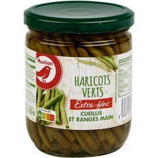 AUCHAN Haricots verts extra fins cueillis et rangés main, en bocal 225g