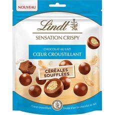 Lindt LINDT Sensation crispy, billes de chocolat au lait cœur croustillant