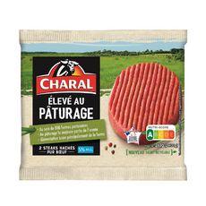 CHARAL Steaks Hachés pur bœufs élevé au pâturage 5%mg 2 pièces  260g