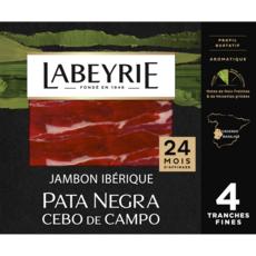 LABEYRIE Jambon ibérique Pata Negra 24 mois d'affinage 4 tranches 60g