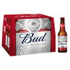 BUD Bière blonde américaine 5% bouteilles 20x25cl
