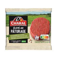 CHARAL Steaks hachés pur bœuf élevé au pâturage 12% mg 2 pièces  260g