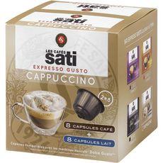 SATI Capsules de café cappuccino compatible Dolcé Gusto  8+8 capsules 164g