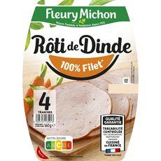 FLEURY MICHON Rôti de dinde cuit 4 tranches 160g