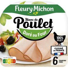 FLEURY MICHON Blanc de poulet doré au four 6 tranches 180g