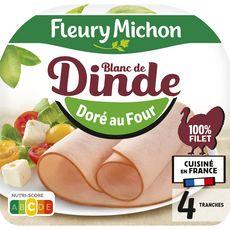 FLEURY MICHON Blanc de dinde doré au four 4 tranches 160g