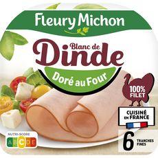 FLEURY MICHON Blanc de dinde doré au four 6 tranches 180g