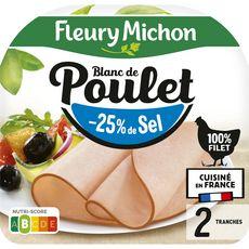 FLEURY MICHON Blanc de poulet doré au four -25% de sel 2 tranches 80g