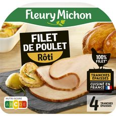 FLEURY MICHON Filet de poulet rôti 4 tranches 120g