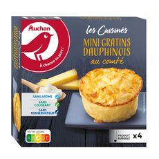 AUCHAN Mini gratin dauphinois crème fraîche et comté 4 pièces 480g