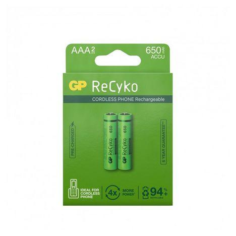 GP Lot de 2 Piles AAA LR03 NiMH rechargeables - 650mAh