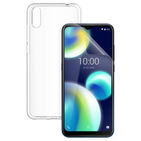 WIKO Pack Smartphone View4 Lite 64 Go Bleu 4G + Coque transparente + Film protection écran