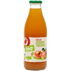 AUCHAN BIO Pur jus de pomme trouble bouteille verre 1l