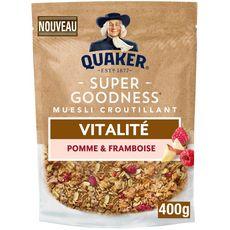 QUAKER Super Goodness Muesli de céréales croustillant pomme et framboise 400g