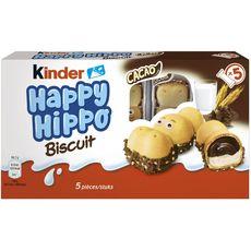 KINDER Happy Hippo Biscuits et cacao 5 sachets fraîcheur 103,5g