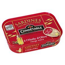 CONNETABLE Sardines à l'huile d'olive vierge extra, préparées à la main en Bretagne 135g