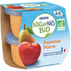 NESTLE Naturnes petit pot dessert pomme poire bio dès 4 mois 2x115g