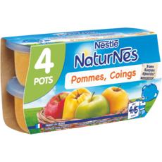NATURNES Petit pot dessert pommes coings dès 4 mois 4x130g