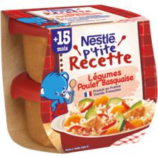 NESTLE P'tite Recette Bol légumes et poulet basquaise dès 15 mois 2x200g