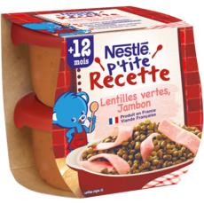 Nestlé NESTLE P'tite recette bol lentilles vertes et jambon dès 12 mois