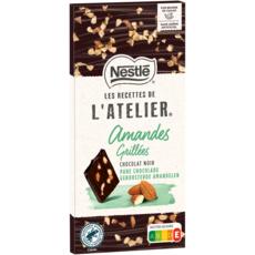 NESTLE Recettes de l'Atelier tablette de chocolat noir amandes grillées 1 pièce 115g