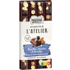 NESTLE Recettes de l'atelier tablette de chocolat noir myrtilles amandes noisettes 170g