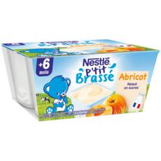 NESTLE P'tit brassé petit pot dessert lacté à l'abricot dès 6 mois 4x100g