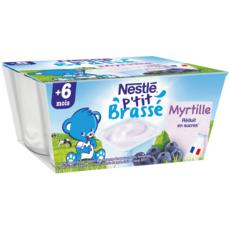 Nestlé NESTLE P'tit brassé petit pot dessert lacté à la myrtille dès 6 mois