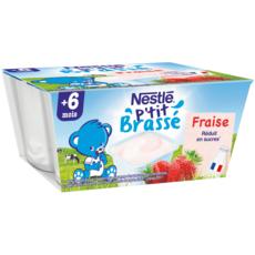 NESTLE P'tit brassé petit pot dessert lacté à la fraise dès 6 mois 4x100g