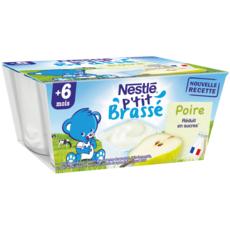Nestlé NESTLE P'tit brassé petit pot dessert lacté à la poire dès 6 mois