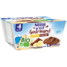 NESTLE P'tit gourmand pot crème dessert banane cacao bio dès 6 mois 4x90g