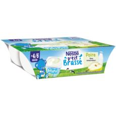 NESTLE P'tit brassé petit pot dessert lacté à la poire dès 4 mois 6x60g