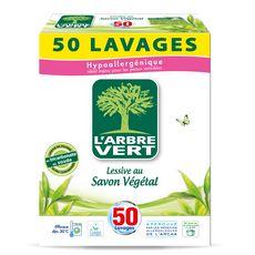 L'ARBRE VERT Lessive poudre au savon végétal 50 lavages 2,5kg