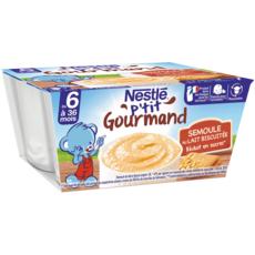 NESTLE P'tit gourmand pot dessert semoule au lait biscuité dès 6mois 4x100g