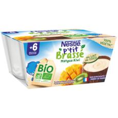 NESTLE P'tit brassé Pot dessert lait coco mangue kiwi bio dès 6 mois 4x90g