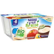 NESTLE P'tit brassé Pot dessert lait coco pomme ananas bio dès 6 mois 4x90g