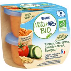 NATURNES BIO 100% végétal Bol tomates, courgettes, lentilles et boulgour bio dès 8 mois 2x190g