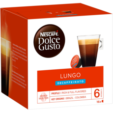 DOLCE GUSTO Capsules de café Lungo décaféiné compatibles Dolce Gusto 16 capsules 112g