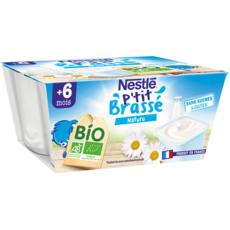 NESTLE P'tit brassé petit pot dessert lacté nature bio dès 6 mois 4x90g