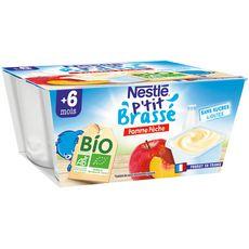 NESTLE P'tit brassé pot dessert lacté pomme et pêche bio dès 6 mois 4x90g