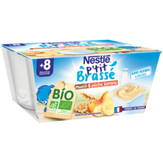 NESTLE P'tit brassé pot dessert lacté muesli pêche banane bio dès 8m 4x90g